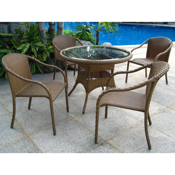 Longboat Key Summit 5 Piece Wicker Dining Set