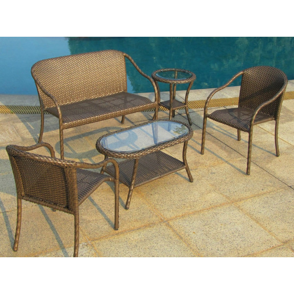 Longboat Key Summit 5 Piece Wicker Conversation Set
