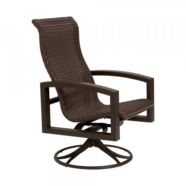 Tropitone Lakeside Woven Highback Wicker Swivel Rocker