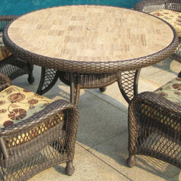 "Longboat Key Incline 48"" Wicker Dining Table"