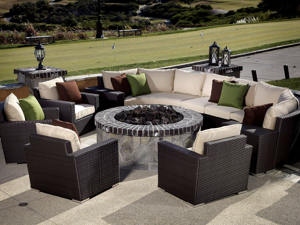 Sunset West Solana Wicker 10 Piece Curved Sectional Set