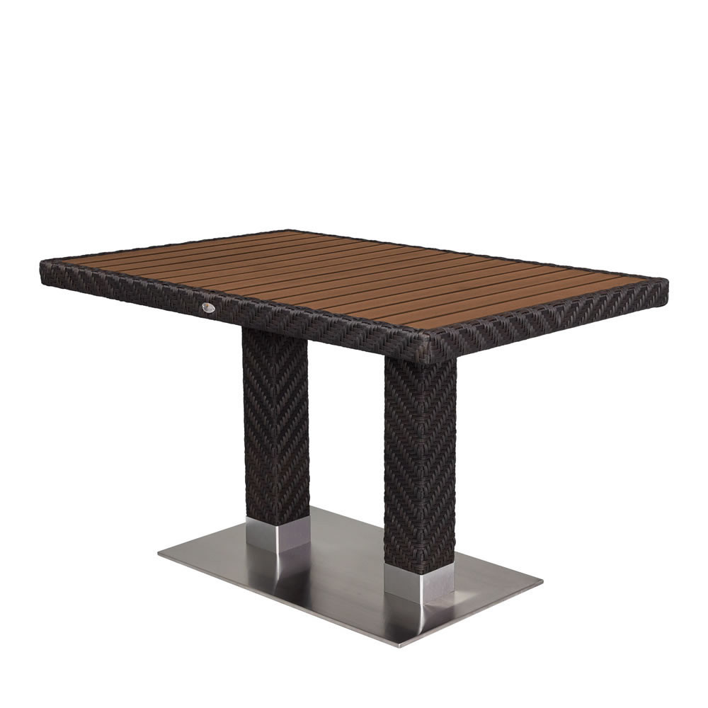 Source outdoor arizona rectangular wicker dining table for Wicker patio table