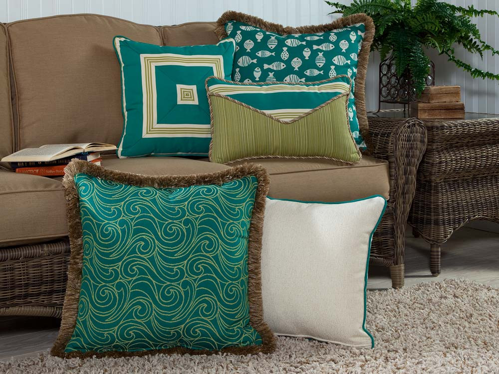 South Sea Rattan All Weather Aquamarine 5 Piece Throw Pillow Set - WickerCentral.com