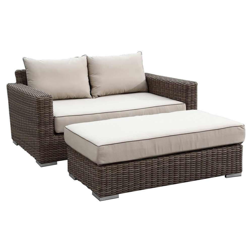 Sunset west coronado wicker double chaise for Chaise double lounge