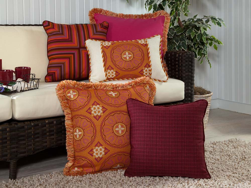 Throw Pillows For Wicker Furniture : South Sea Rattan All Weather Sunset 5 Piece Throw Pillow Set - WickerCentral.com