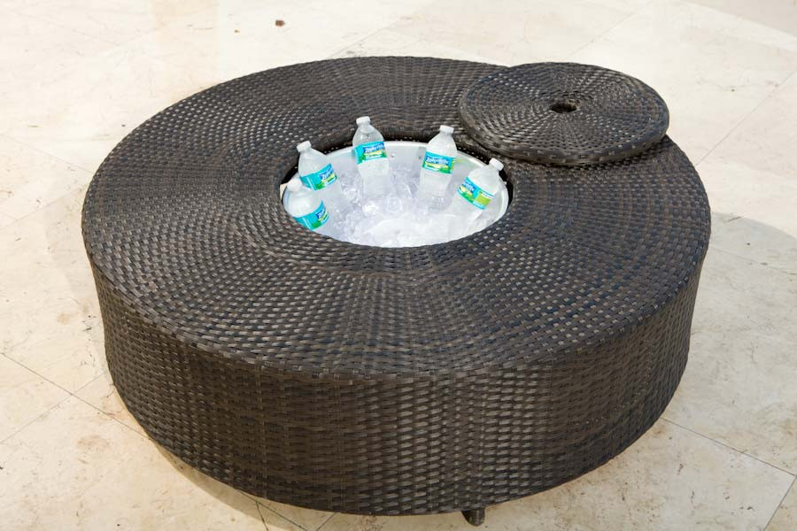 Source Outdoor Circa Round Wicker Coffee Table with Ice Bucket - Source Outdoor Circa Wicker Round Ice/Coffee Table - WickerCentral.com