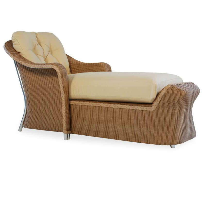 Lloyd flanders reflections wicker day chaise for Bamboo chaise lounge