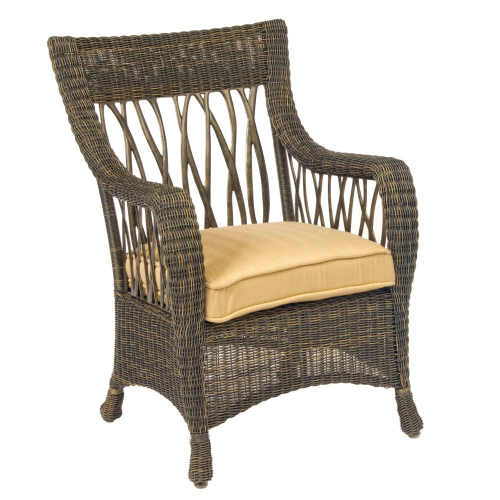 Whitecraft by woodard serengeti wicker dining chair for What is wicker furniture