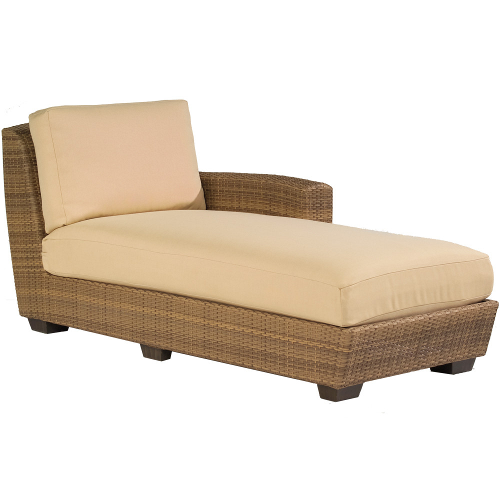 Whitecraft by woodard saddleback wicker chaise lounge for Bamboo chaise lounge