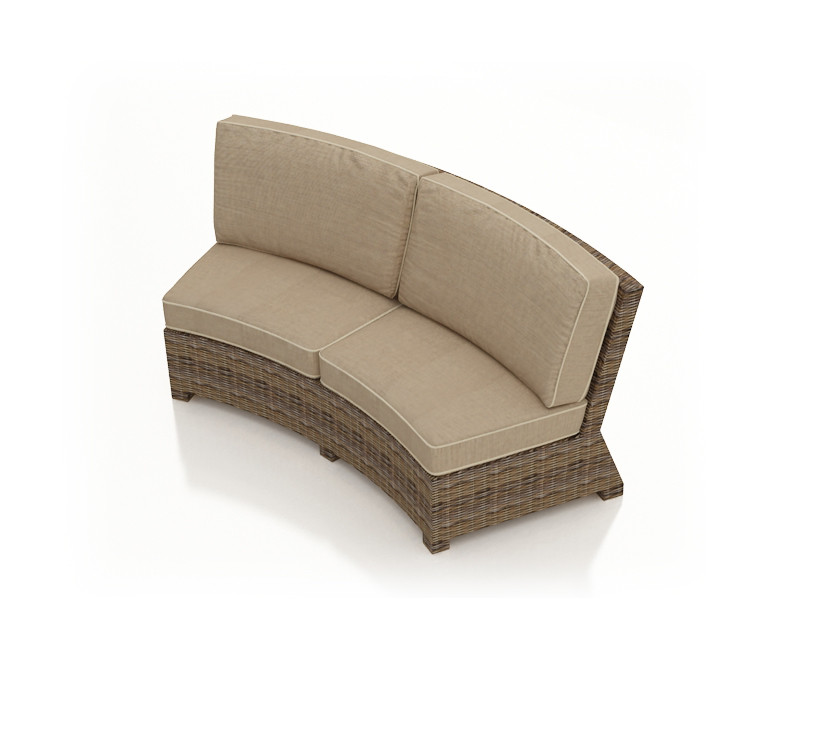 forever patio cypress wicker curved sofa wickercentral