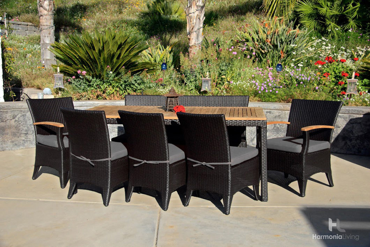 Harmonia Living Arbor 7 Piece Wicker Bench Dining Set   Sunbrella Canvas  Charcoal