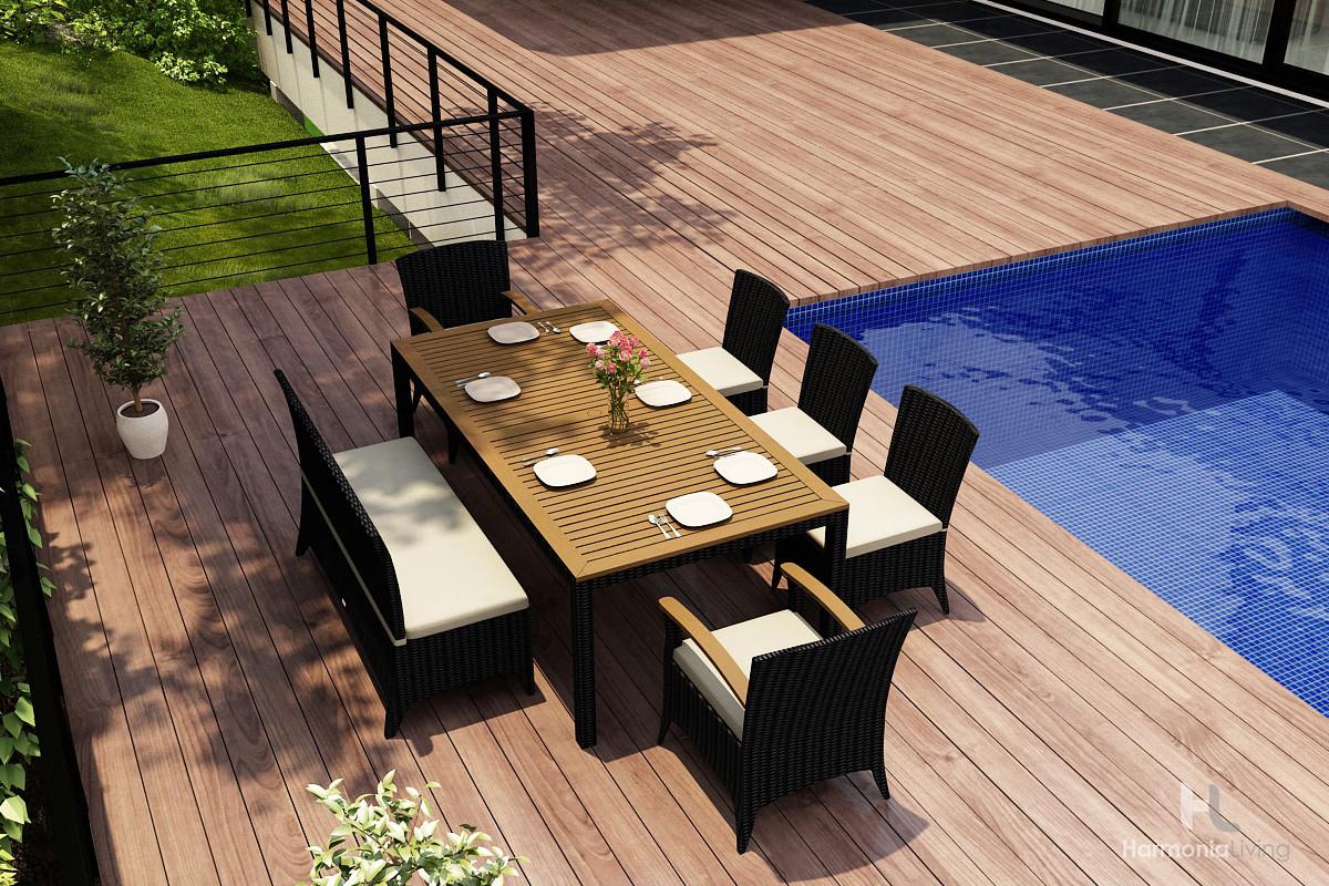 Nice Harmonia Living Arbor 7 Piece Wicker Bench Dining Set   Sunbrella Canvas  Natural