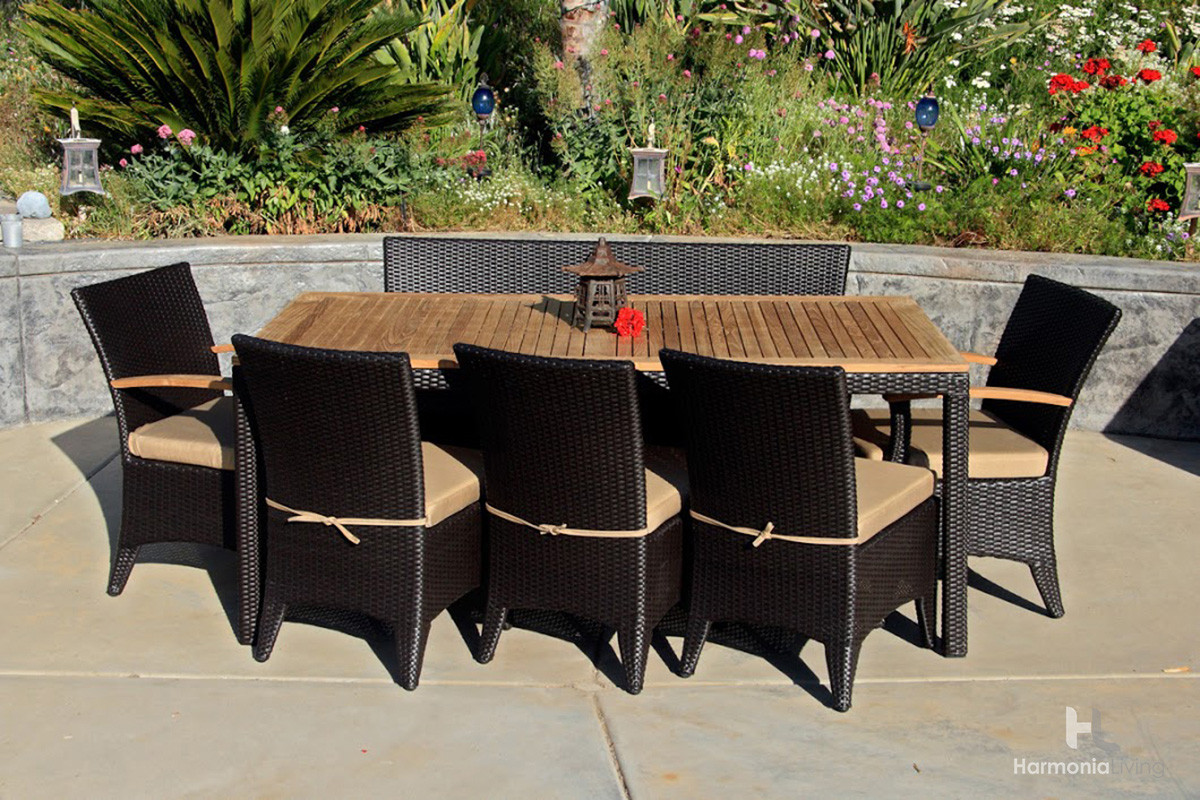 Harmonia living arbor coffee bean 7 piece bench dining set - Arbor bench plans set ...