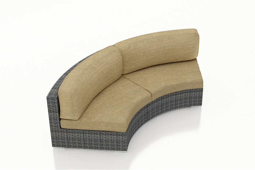 Harmonia Living District Wicker Curved Sofa Wicker Sofas Wicker Seating