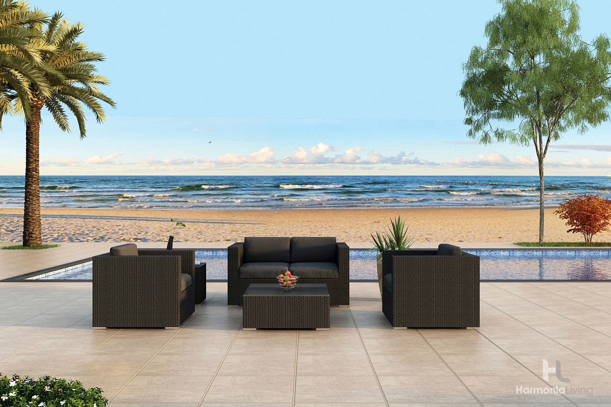 Harmonia Living Urbana 4 Piece Wicker Conversation Set   Sunbrella Canvas  Charcoal