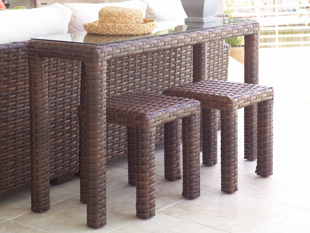 Lloyd flanders contempo 3 piece console table set - Contempo wicker outdoor furniture ...