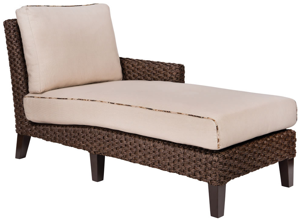 Whitecraft by woodard mona right arm facing wicker chaise for Armed chaise lounge