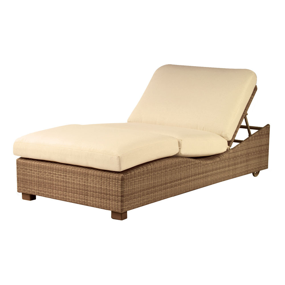 Whitecraft by woodard saddleback wicker double chaise for Chaise longue cushions