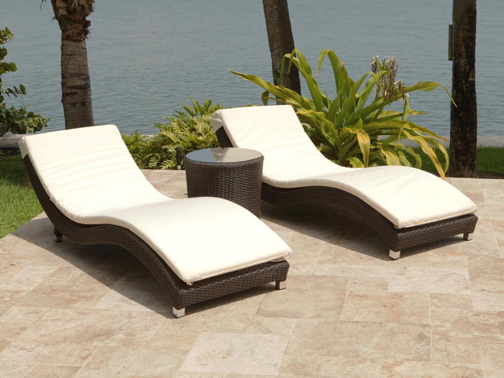 Source Outdoor Wave 3 Piece Wicker Chaise Lounge Set