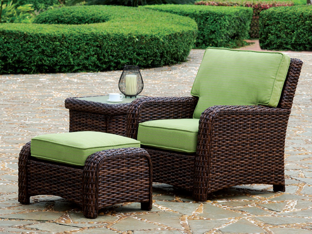 South sea rattan saint tropez wicker 6 piece conversation for Wicker outdoor furniture