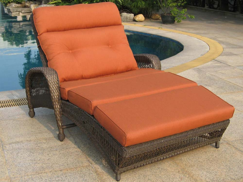 Longboat key incline wicker double chaise lounge for Chaise double lounge
