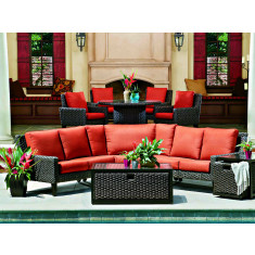 WhiteCraft by Woodard Mona 5 Piece Wicker Curved Sectional Set