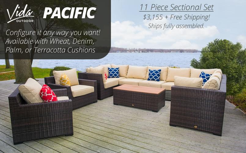 Vida Outdoor Pacific 11 Piece Wicker Sectional Set