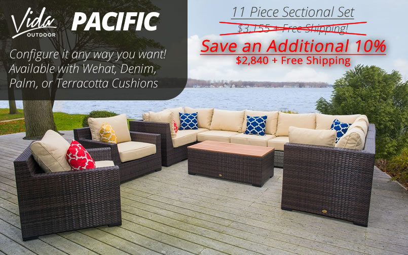 Vida Outdoor Pacific 11 Piece Wicker Sectional Set