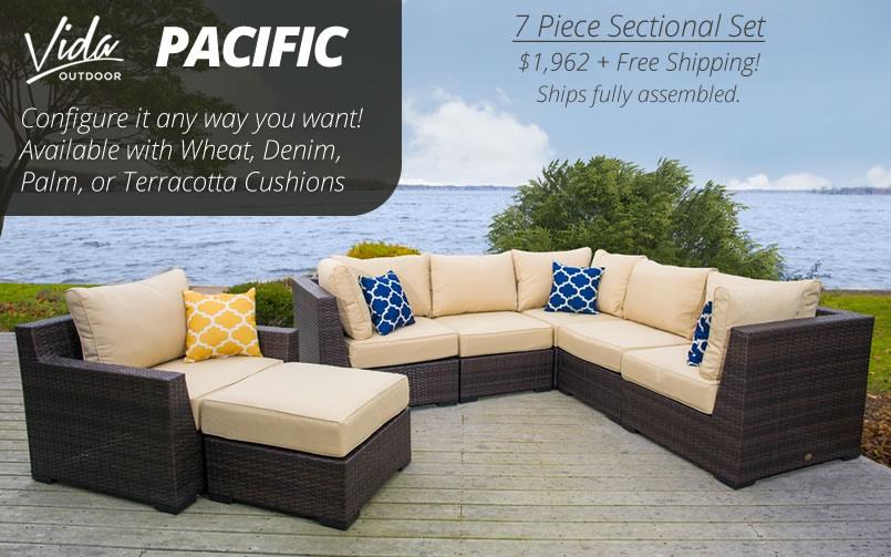 Vida Outdoor Pacific 7 Piece Wicker Sectional Set