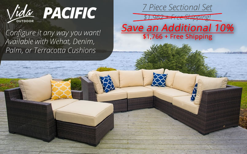 Vida Outdoor Pacific 7 Piece Wicker Sectional Set