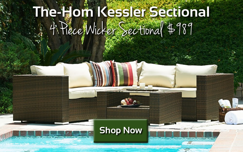 The-Hom Kessler 4 Piece Wicker Sectional $989